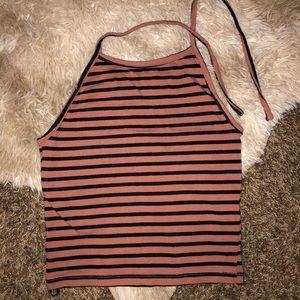 Forever 21 Striped Halter Crop Top